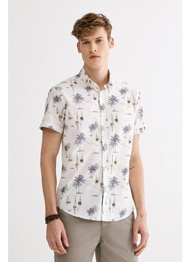Avva Erkek  Baskılı Düğmeli Yaka Gömlek A01Y2115 Ekru